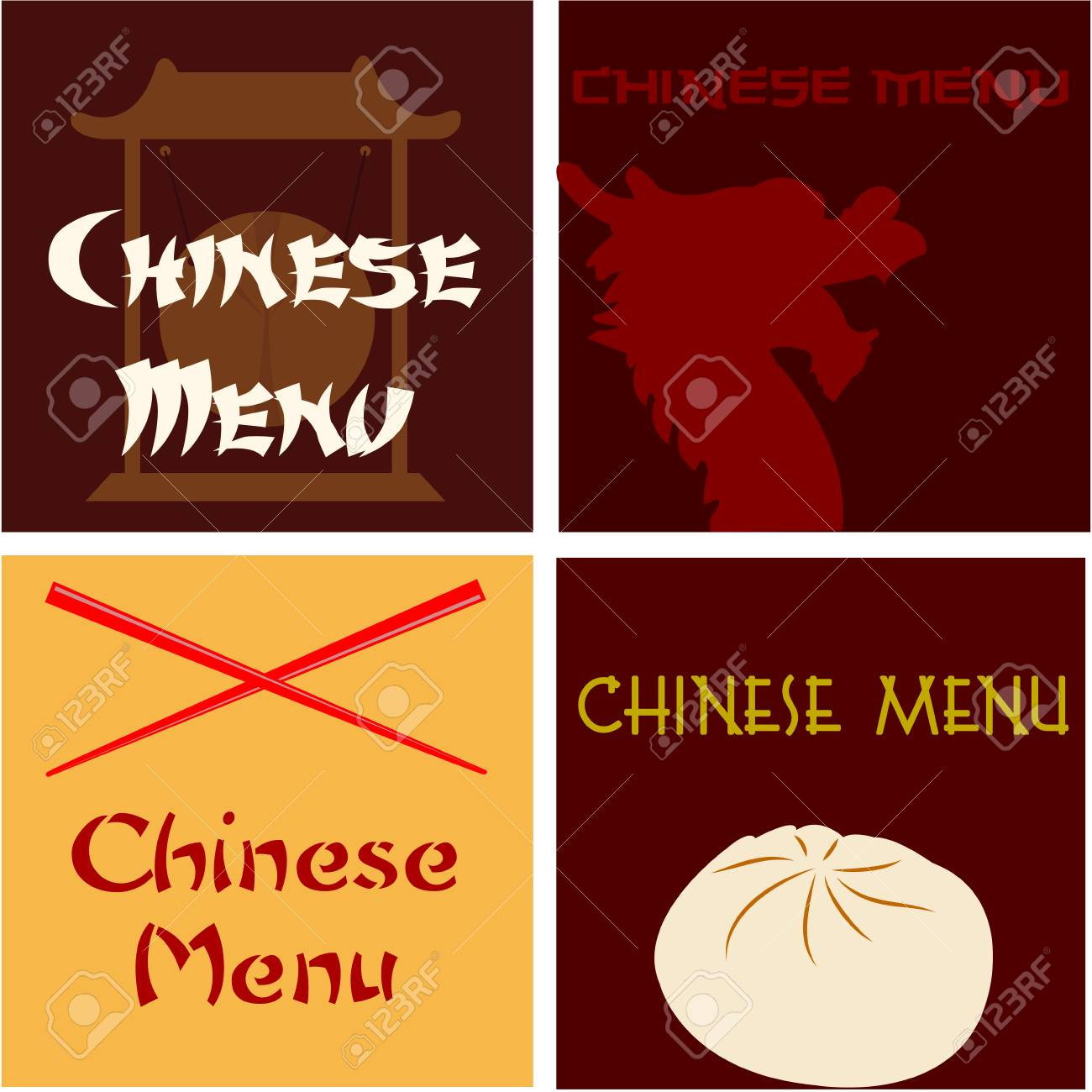 set of colored chinese menu designs with text vector illustration