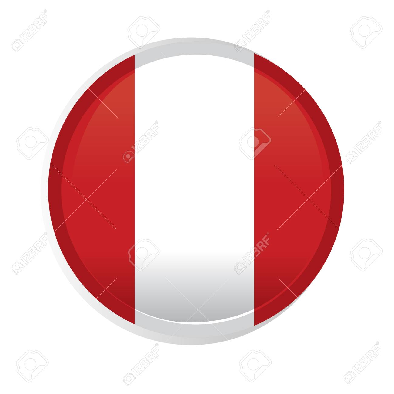 a round badge with the flag of peru on a white background royalty