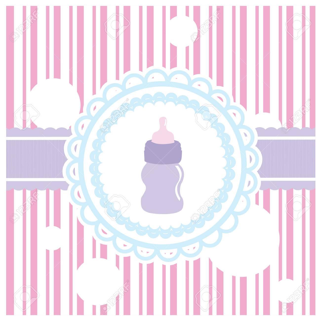 Etiqueta De Color Con Una Botella De Bebé Sobre Un Fondo De Textura Para Las Duchas Del Bebé Ilustraciones Vectoriales Clip Art Vectorizado Libre De Derechos Image 51831254