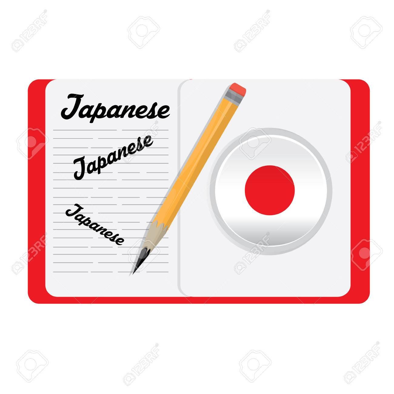 Isolierte Wörterbuch Mit Text, Einem Bleistift Und Einem Japanischen ...
