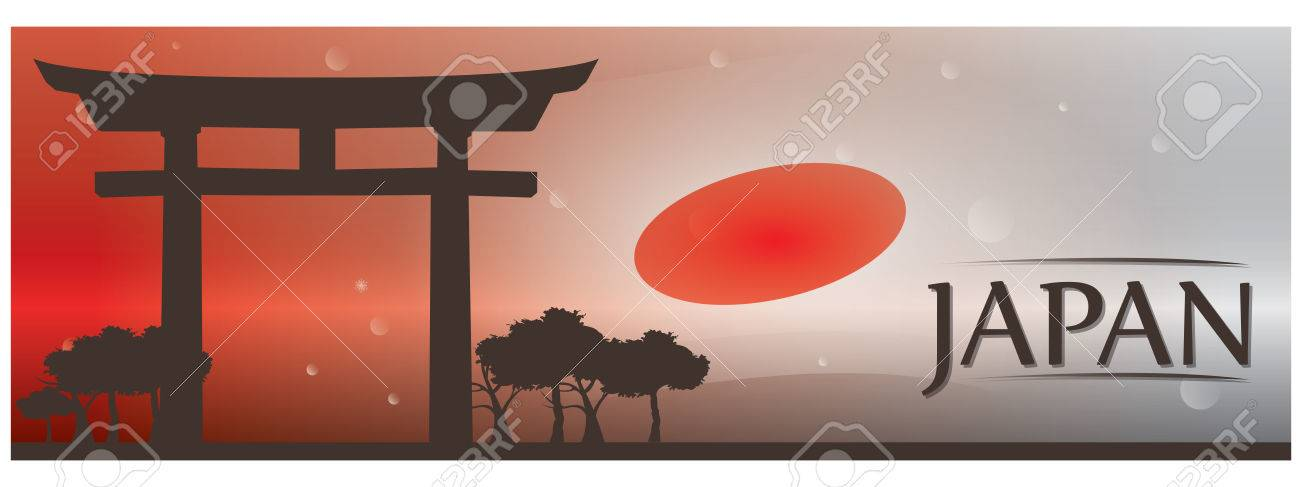 Colored banner with text, the japanese flag and the entrance of a japanese temple - 69889233