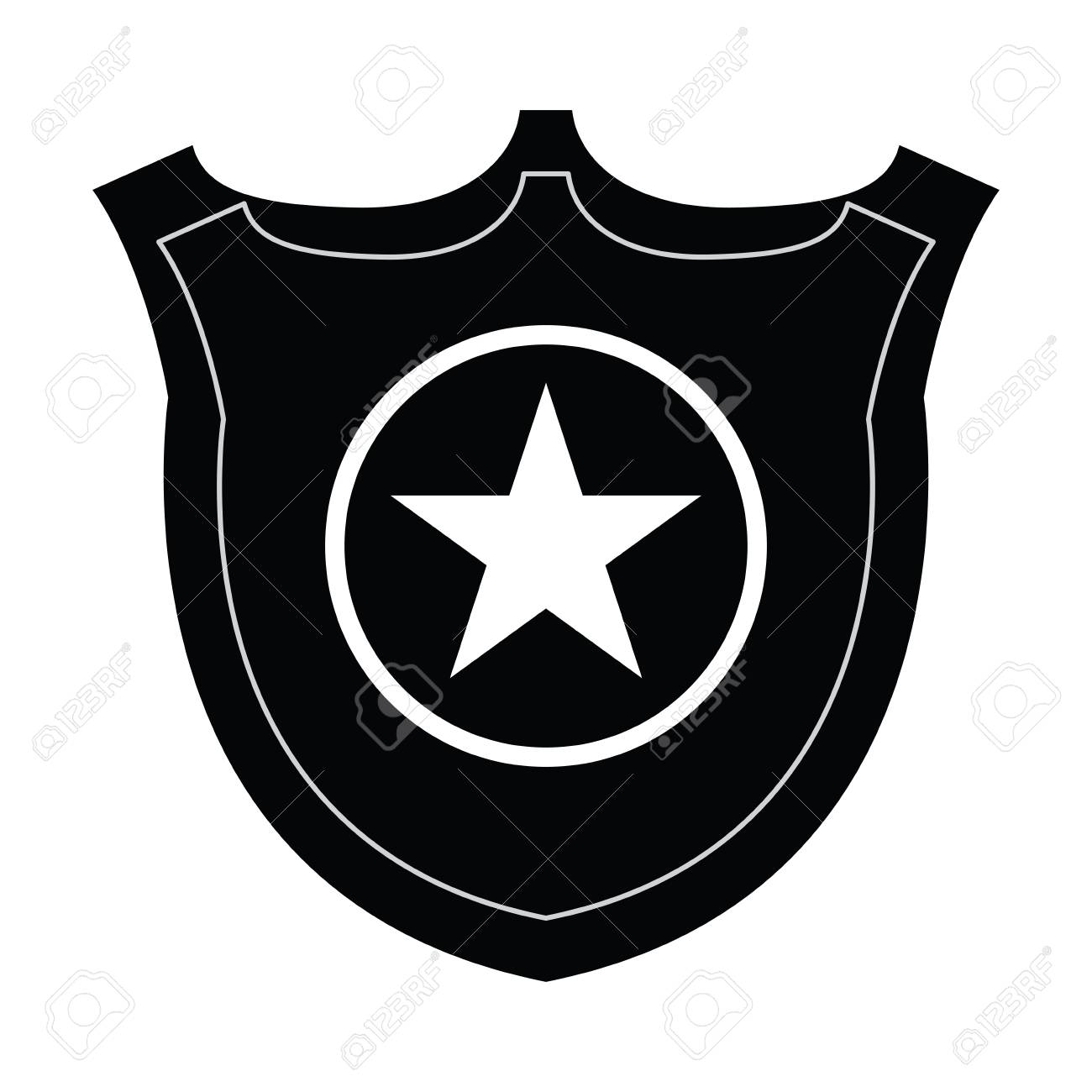 isolated silhouette of a police badge vector illustration royalty rh 123rf com police badge vector png police badge vector icon