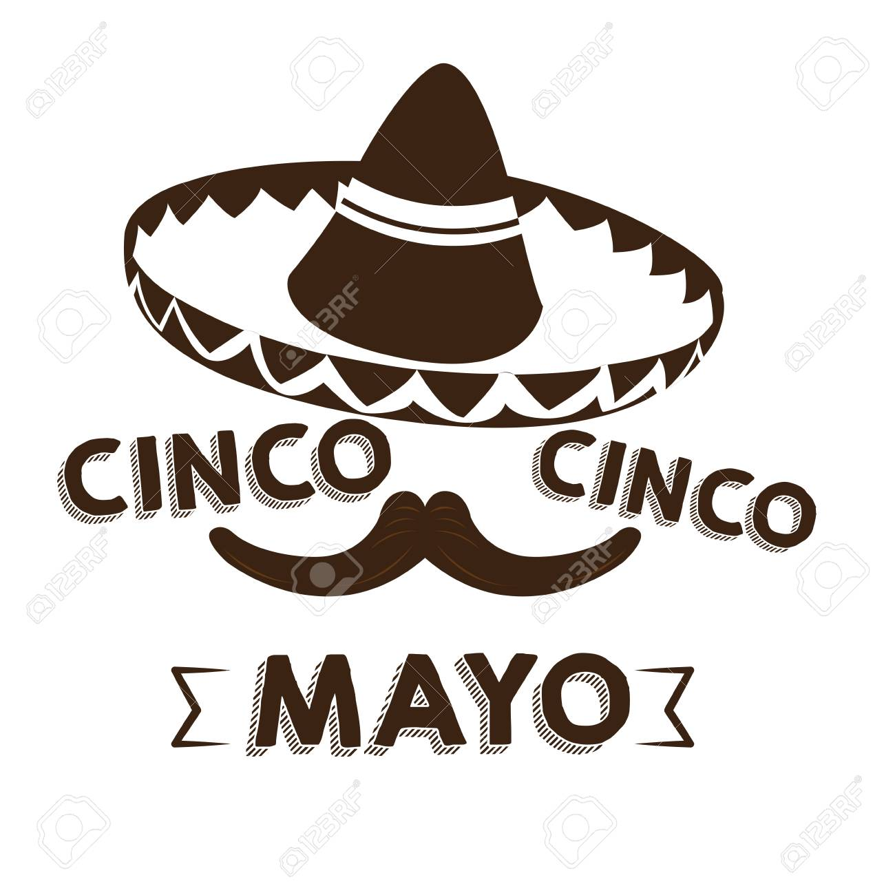 Isolated Silhouette Of A Mexican Hat And A Mustache Cinco De Mayo Vector Il Ration Stock