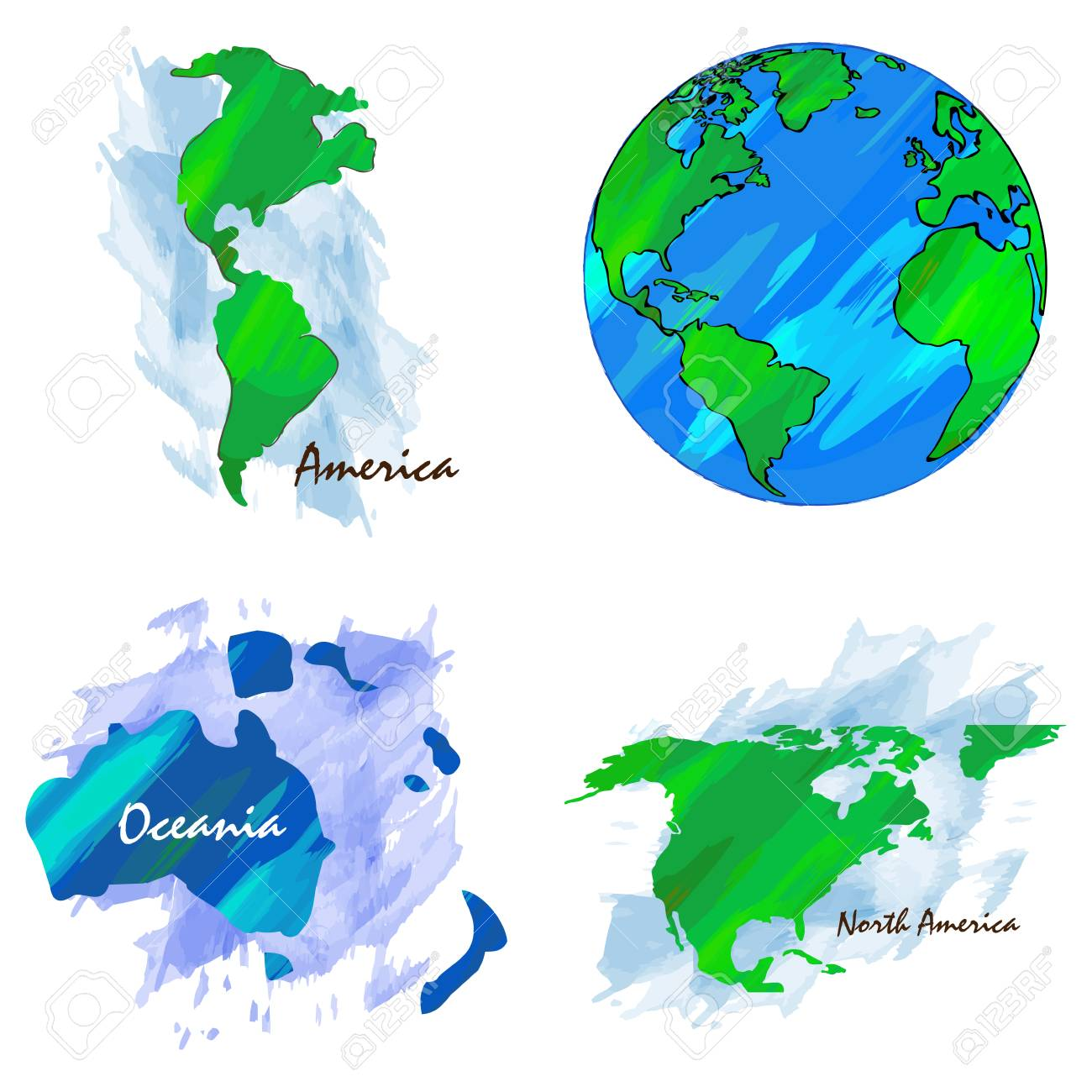 Set of different world maps, Vector illustration Different World Maps on topographic map, thematic map, different world flags, different boxes, different flowers, types of maps, different mountains, mappa mundi, different countries of the world, different map projections, different governments of the world,