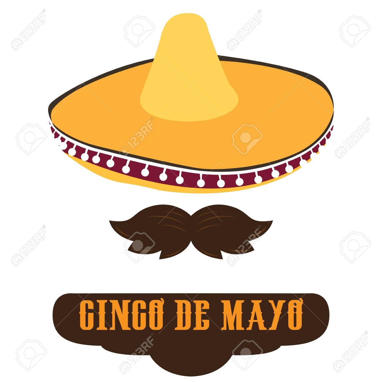 Foto de archivo - Sombrero tradicional aislado y un bigote f90cd37fe07