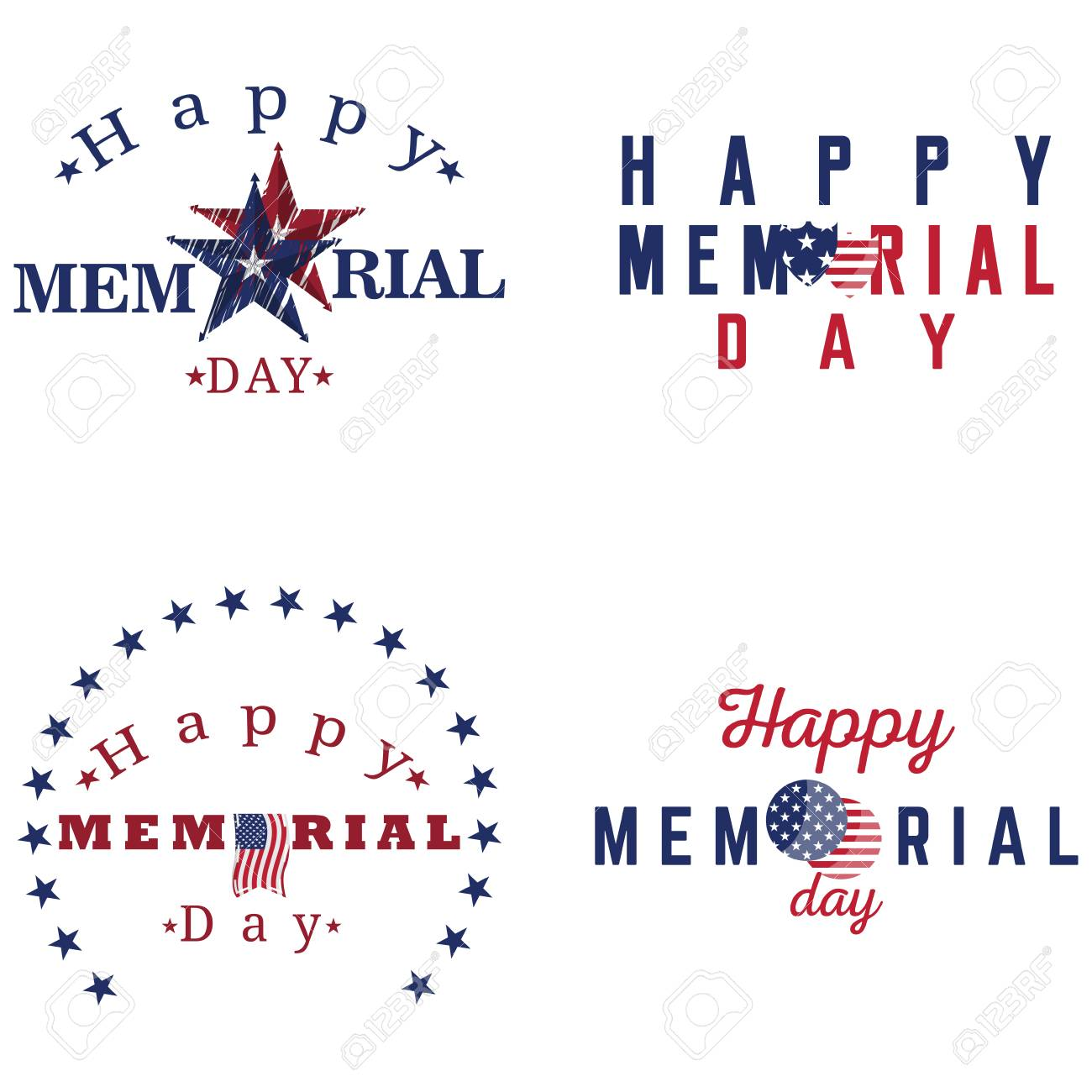 Memorial Day Sale discount labels vector illustration
