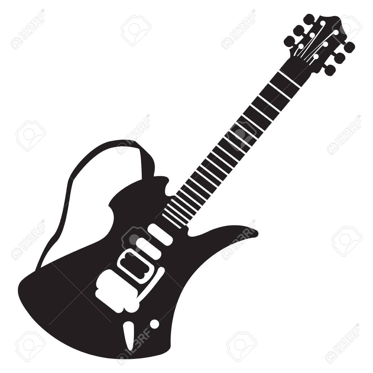 isolated silhouette of an electric guitar vector illustration rh 123rf com electric guitar silhouette vector free electric guitar vector outline