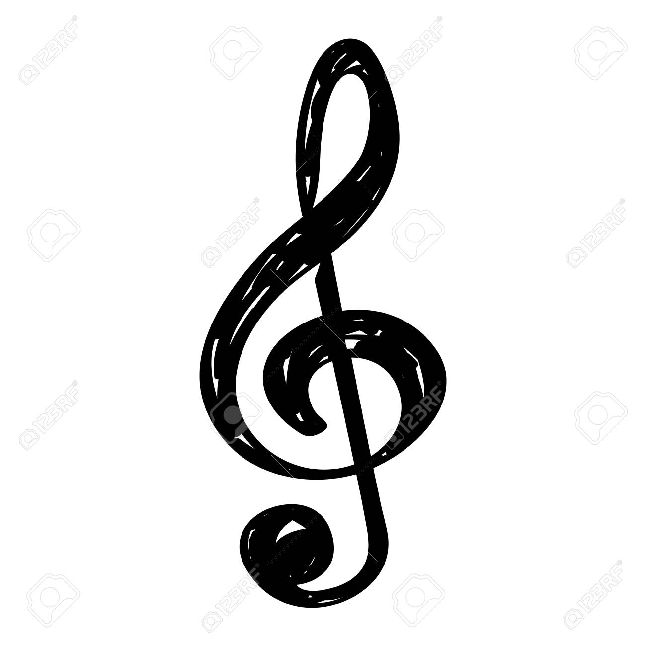 isolated sketch of a musical note treble clef vector illustration rh 123rf com treble clef vector download treble clef vector illustrator