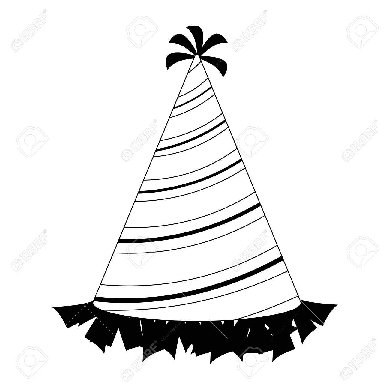 Birthday hat cartoon black and white Royalty Free Vector