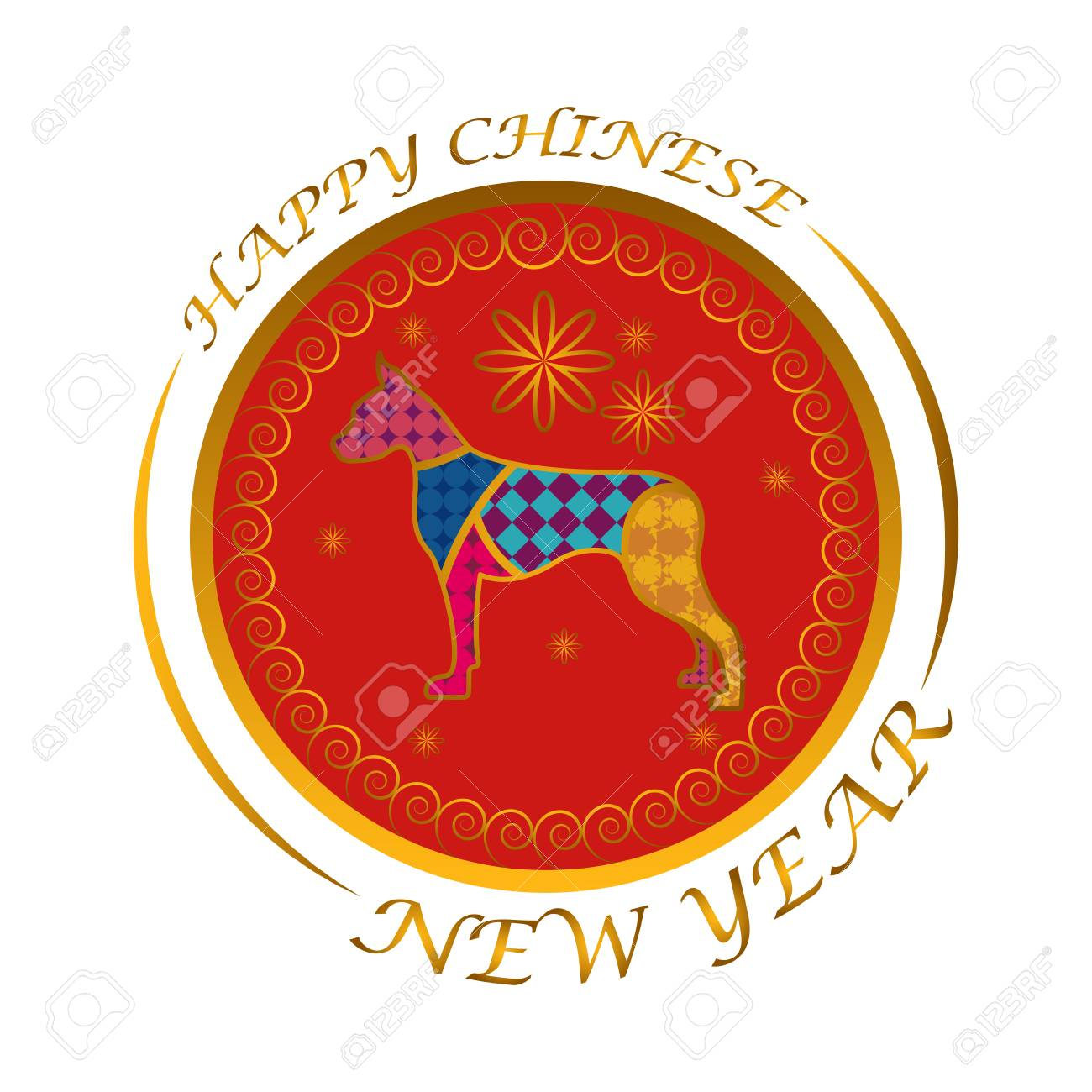 chinese new year label with dog silhouette vector illustration design stock vector 94571802