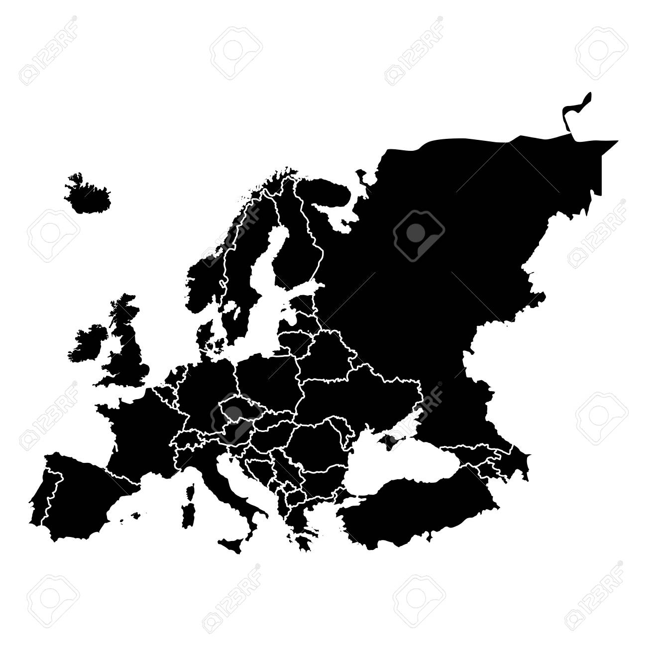 Political map of Europe in black Illustration.