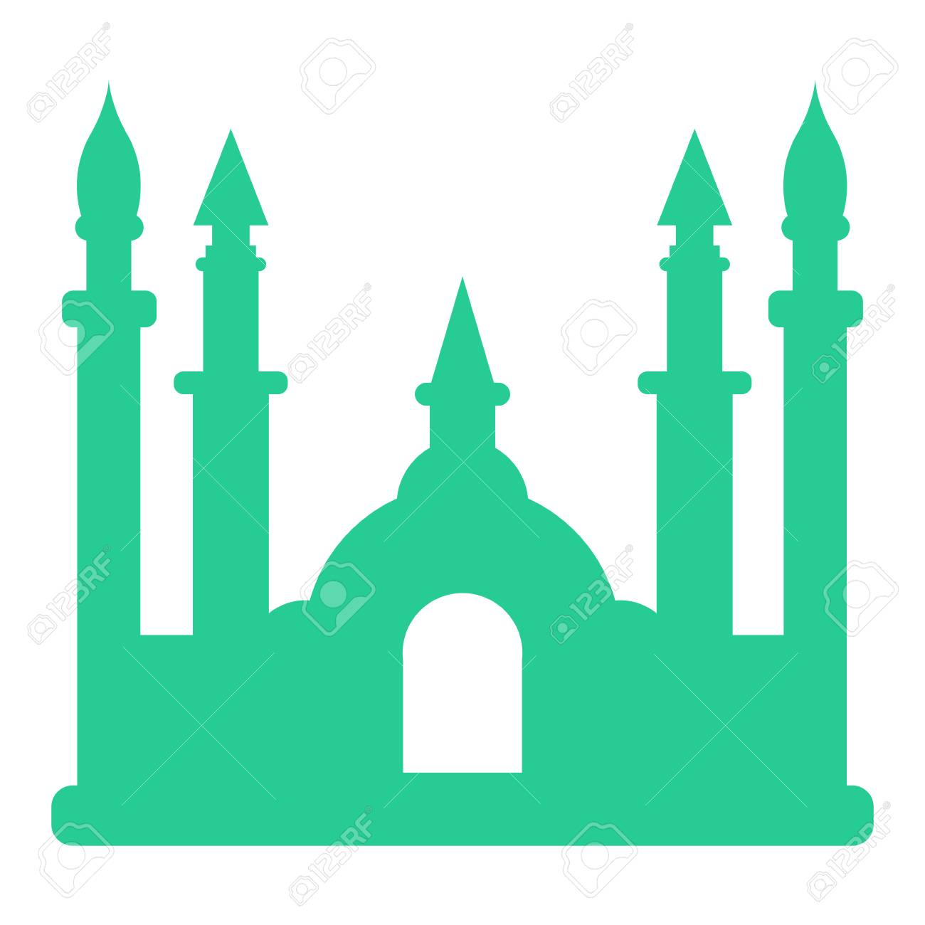 Isolated mosque silhouette in white background