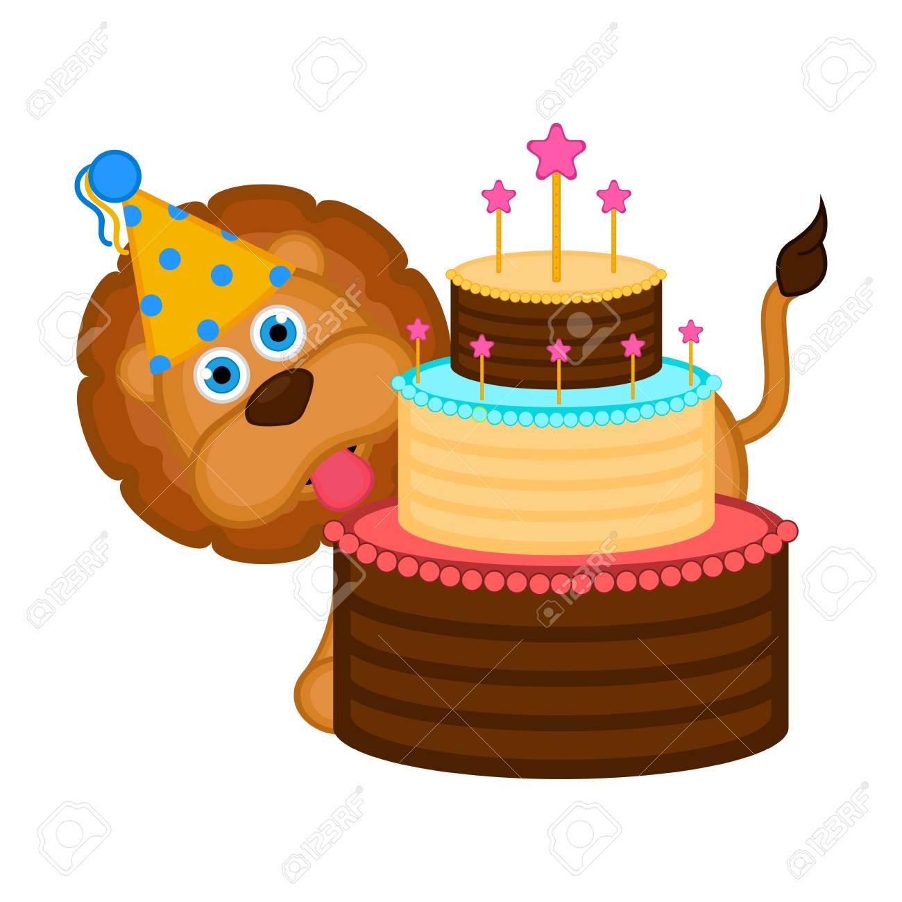 Cute Lion With A Party Hat And Cake Vector Illustration Design Standard Bild