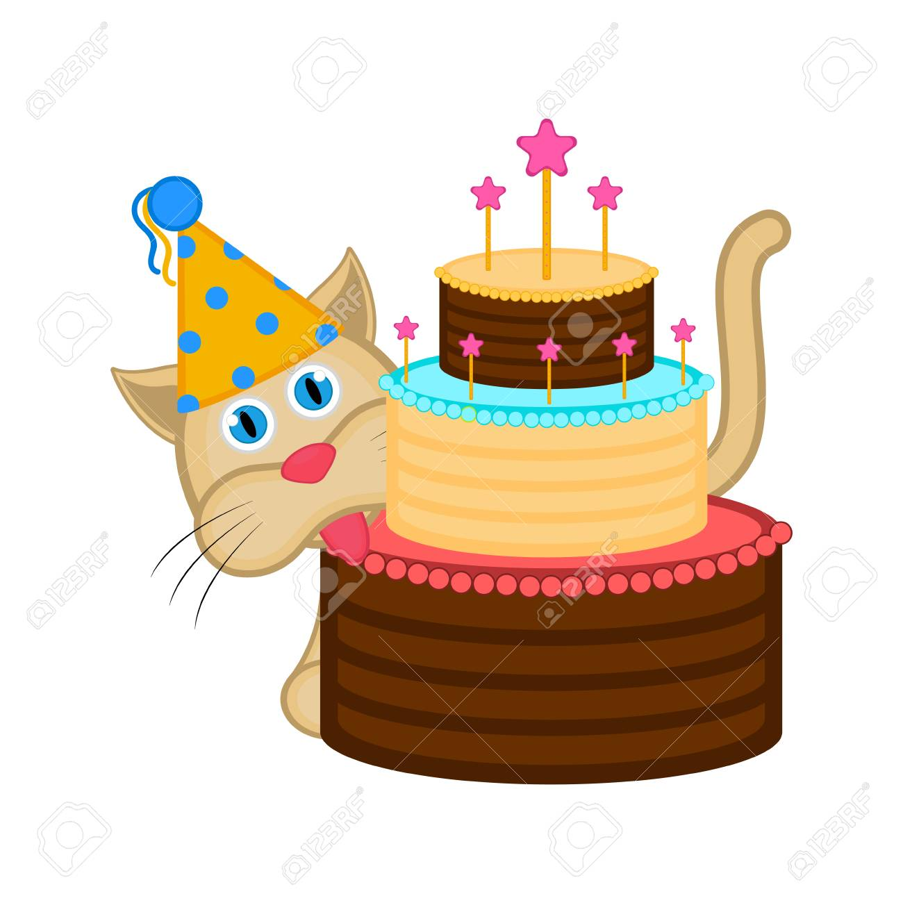 Cute Cat With A Party Hat And Cake Happy Birthday Vector Illustration Design