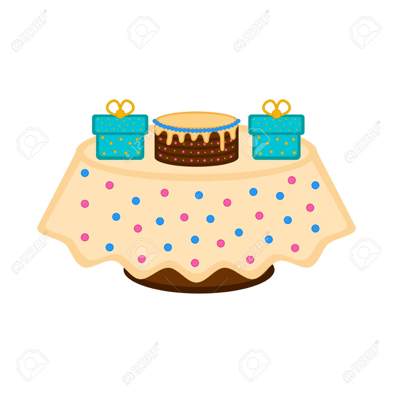 Birthday Cake On A Table With Presents Stock Vector