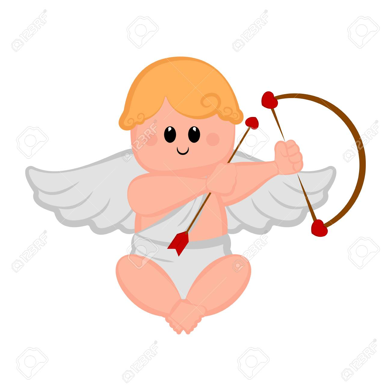 Cute Cupid Boy Icon With Bow And Arrows Valentine Day Vector