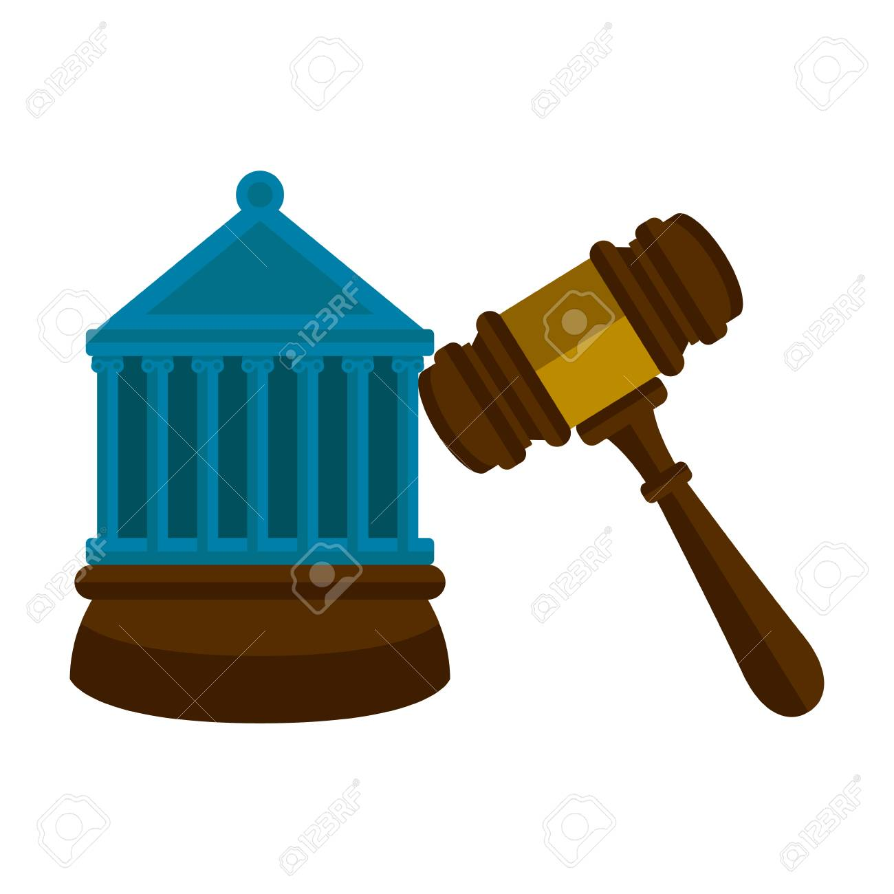 Wooden Gavel With A Court Building Vector Illustration Design