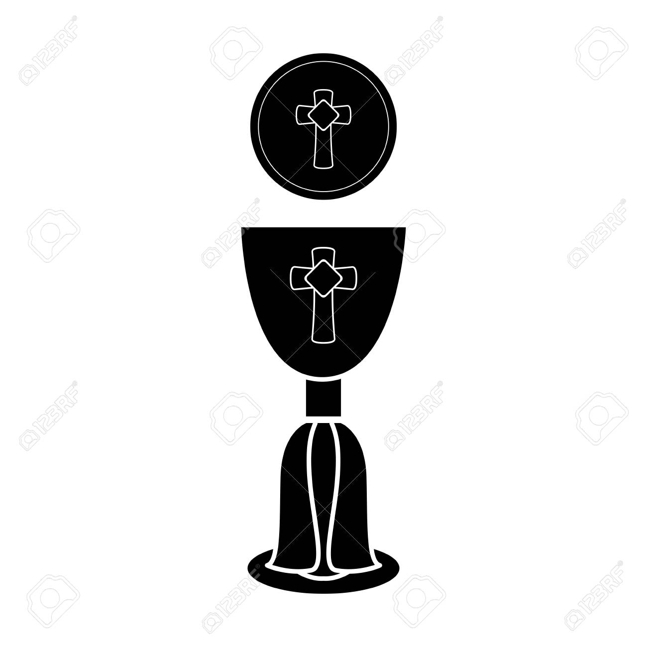 Silhouette of a communion cup and host. Vector illustration design - 112304572