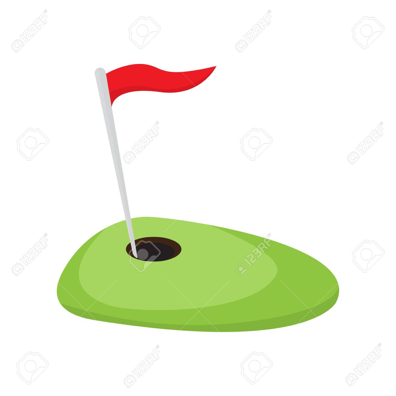 Golf hole with a red flag. Vector illustration design - 120770511