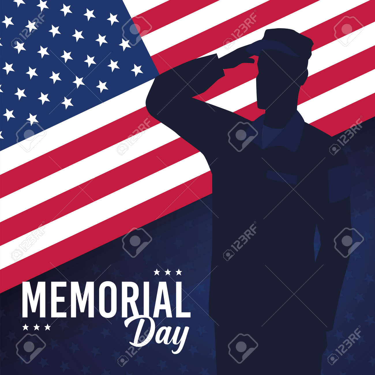 Silhouette of a US army man Memorial day - 169550072