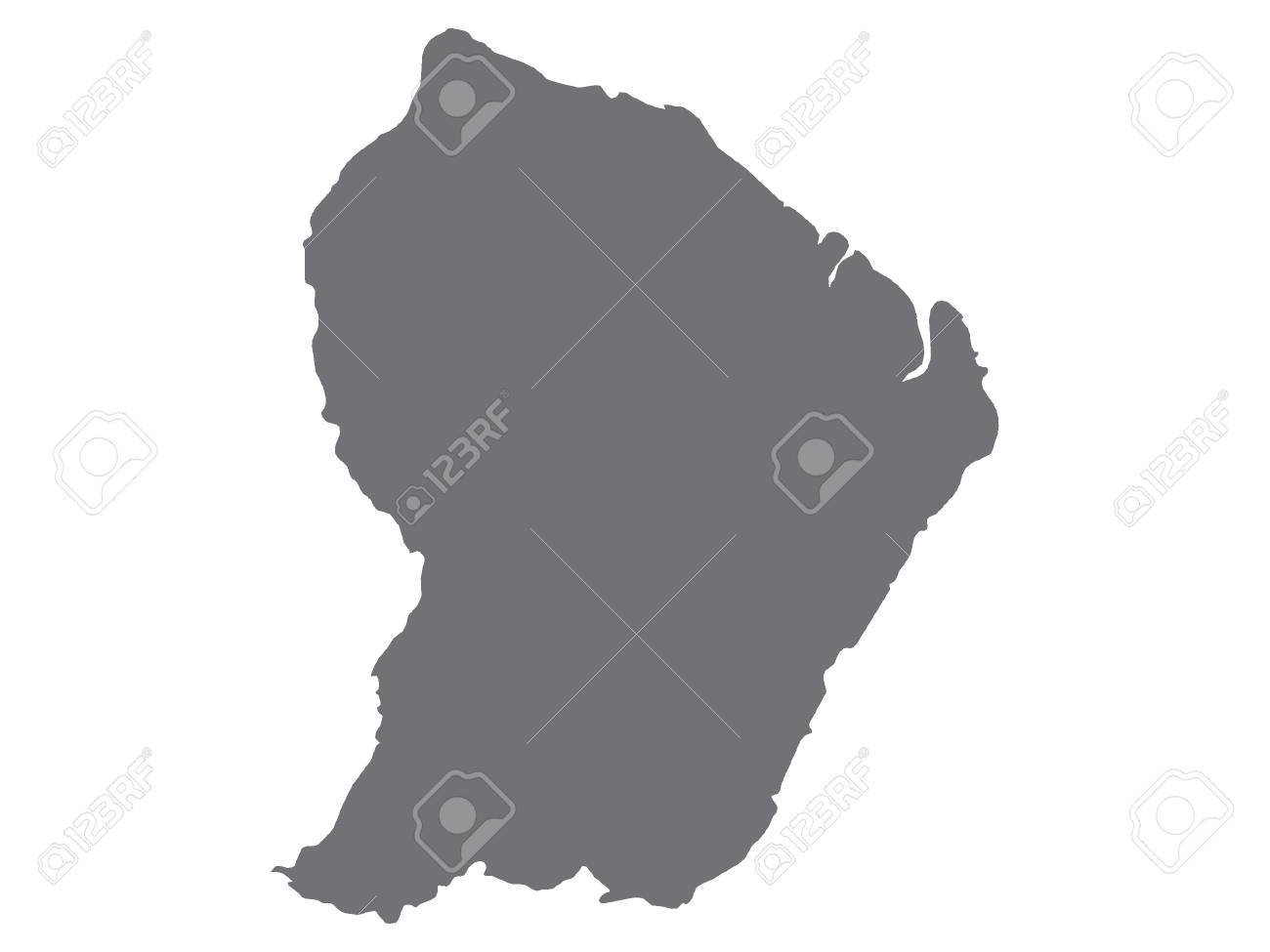 Gray Map of French Guiana - 111564593