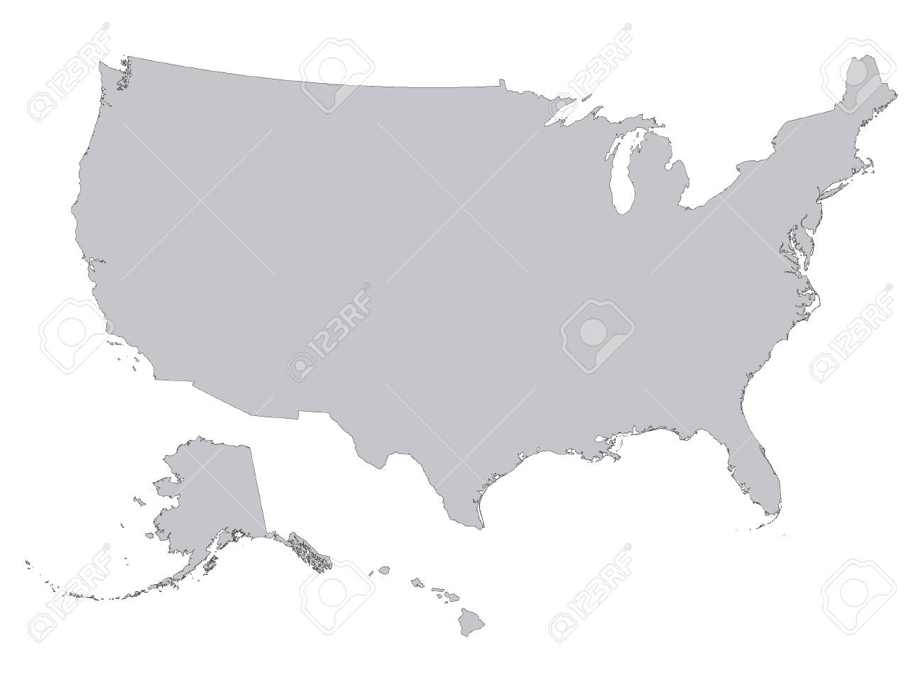 Vector illustration of the Gray Outline Map of the United States..
