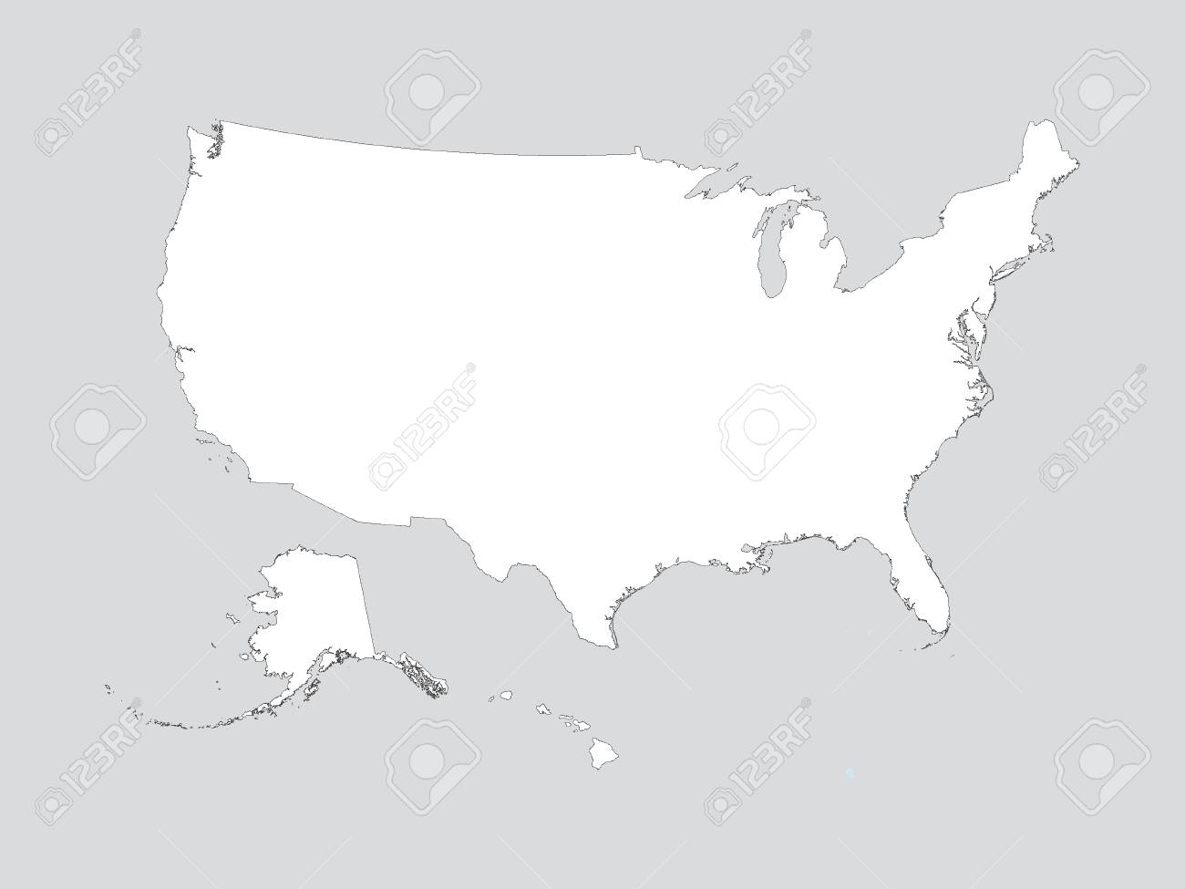 Vector illustration of the White Outline Map of the United States..