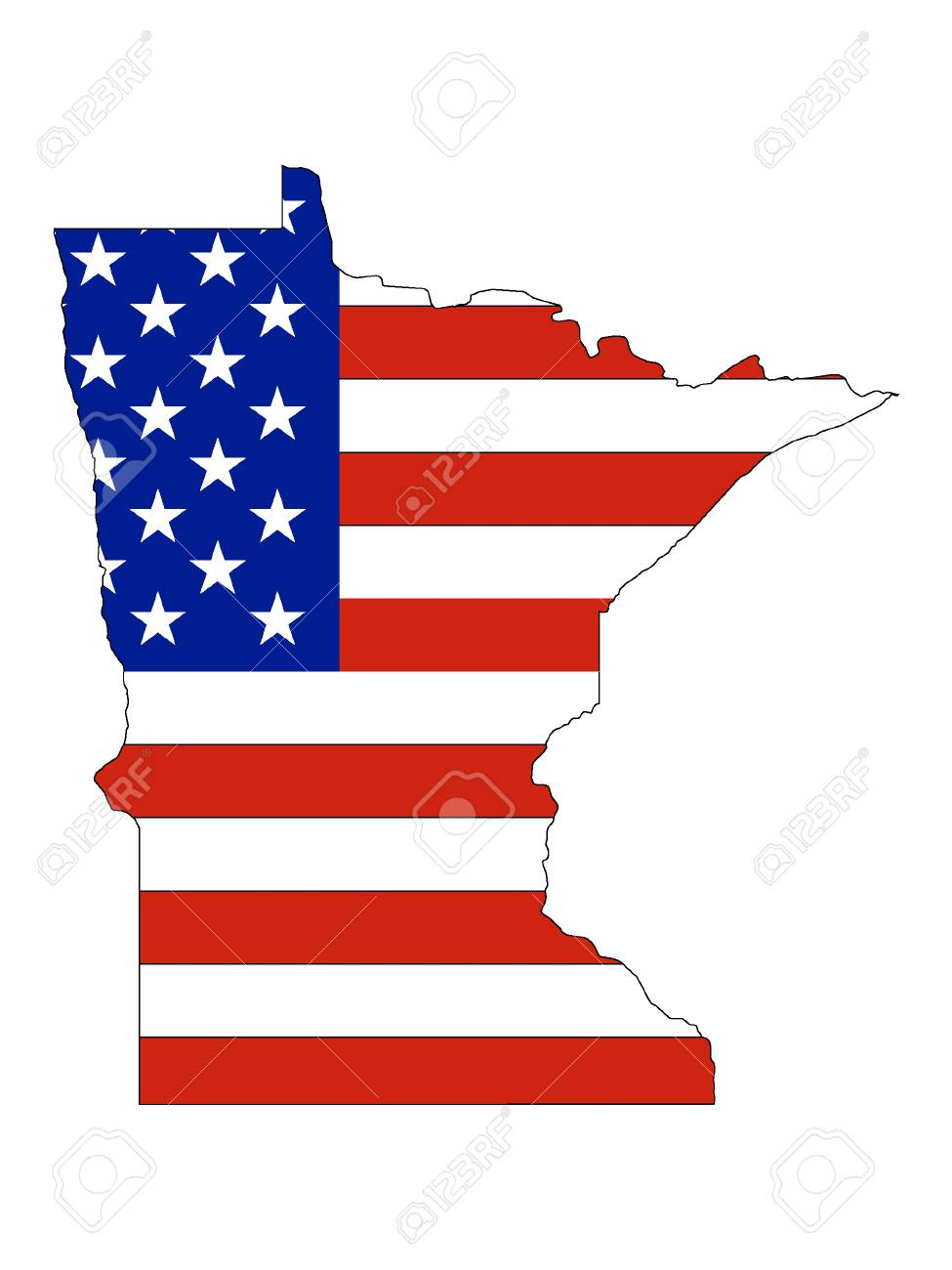 Minnesota map combined with US flag