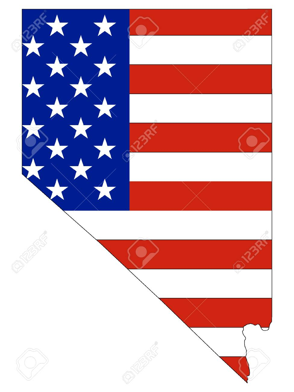 USA Flag with Map of US Federal State of Nevada