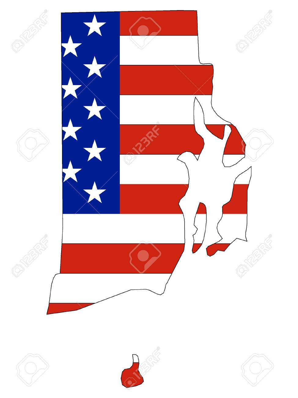 USA Flag with Map of US Federal State of Rhode Island