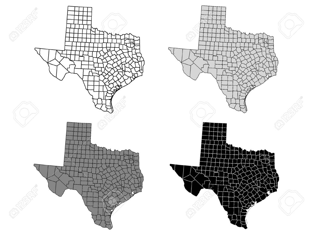 Texas County Map Gray Black White Royalty Free Cliparts