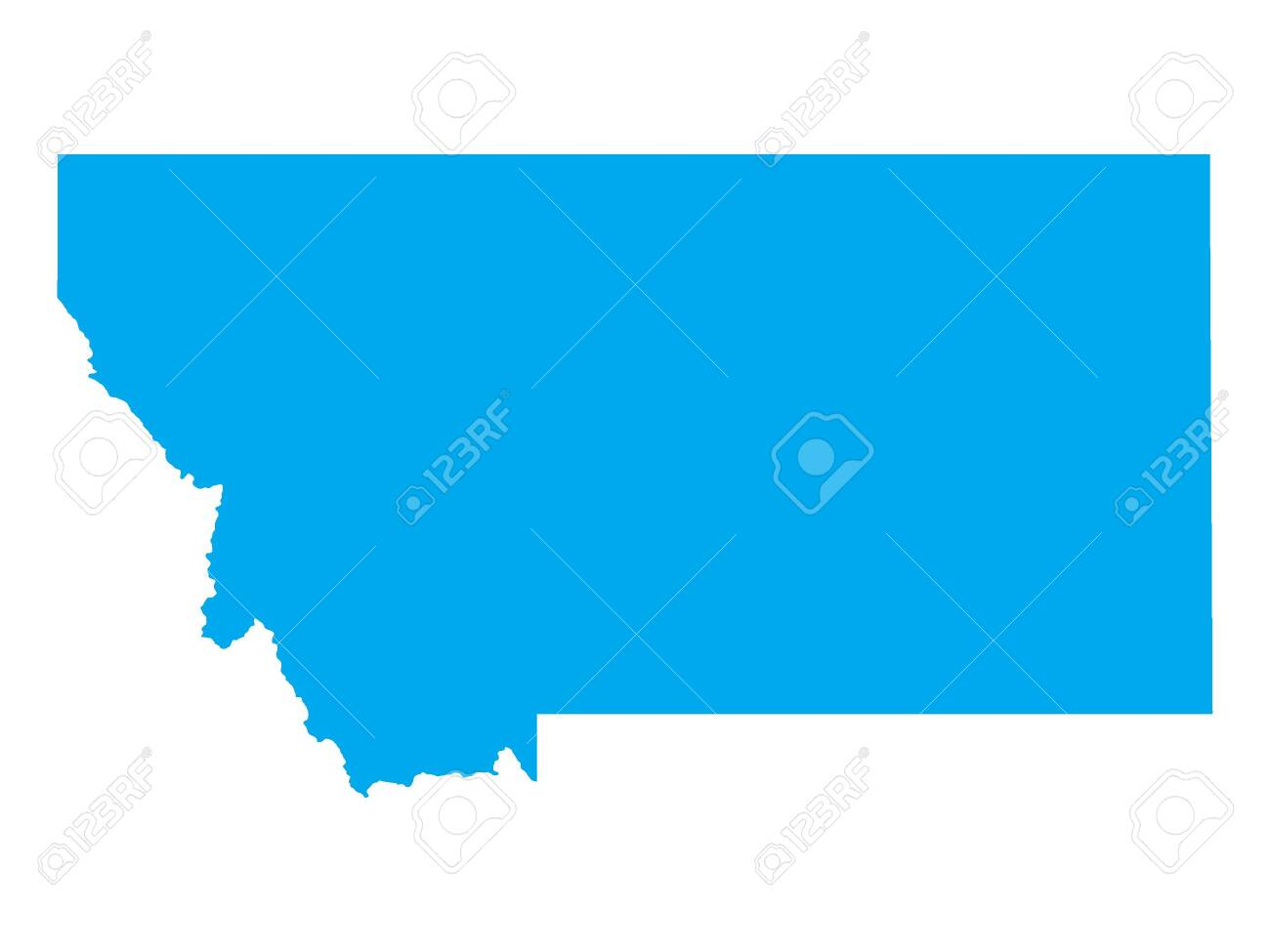 Blue Map of USA Federal State of Montana