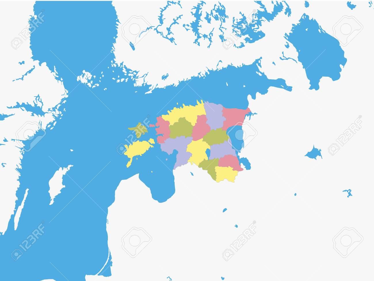 Map of Regions of Estonia with Surrounding Terrain - 133011228