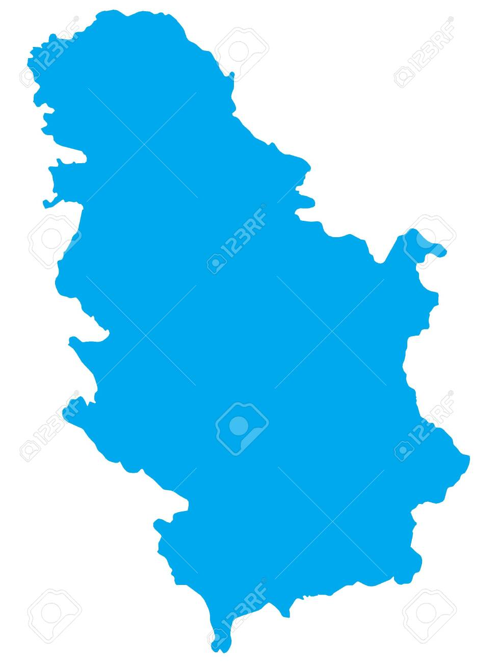 Blue Flat Vector Map of Serbia - 133585580