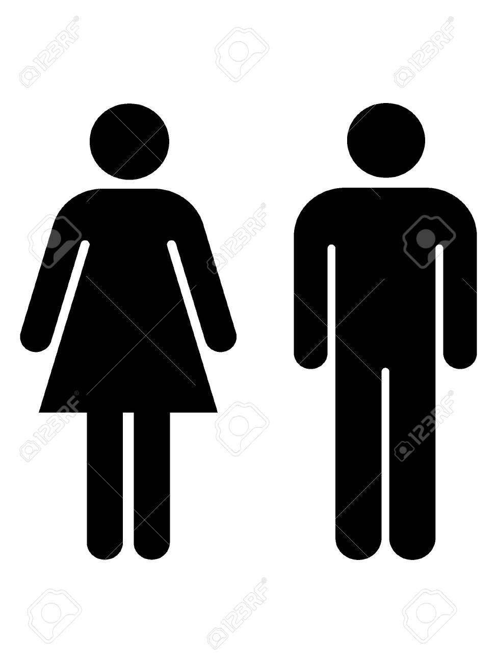 Black and White Silhouette of a Toilet Symbol - 135272507