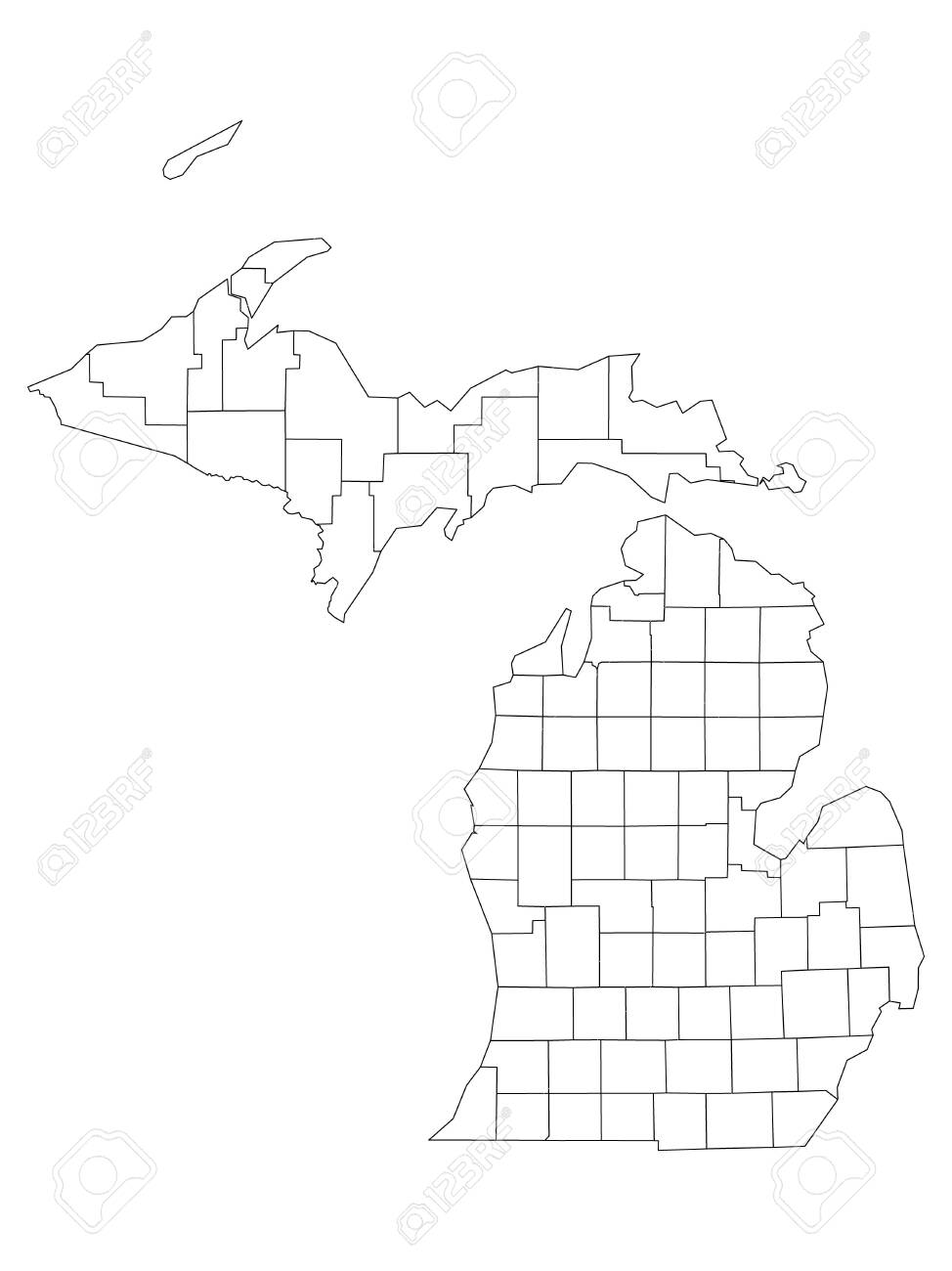 White Outline Counties Map Of Us State Of Michigan Royalty Free Cliparts Vectors And Stock Illustration Image 139285218