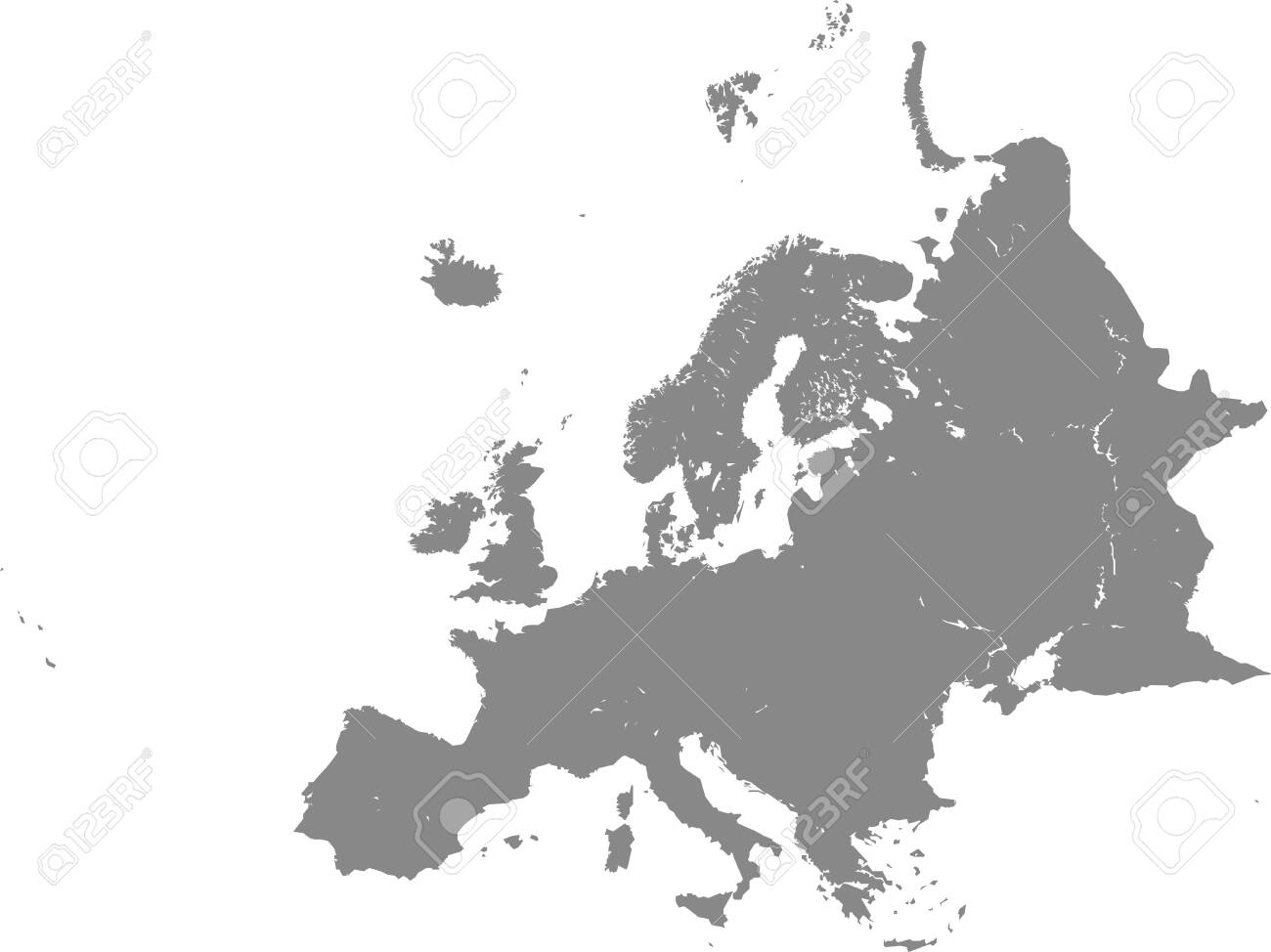 Detailed Grey Flat Blank Map of European Continent with Lakes - 147594553