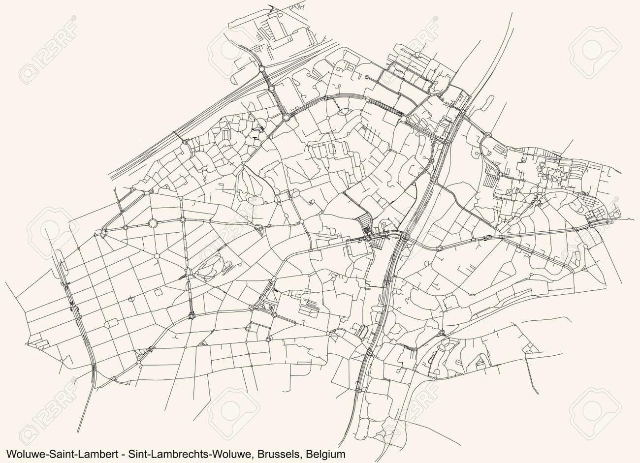 Black simple detailed street roads map on vintage beige background of the quarter Woluwe-Saint-Lambert (Sint-Lambrechts-Woluwe) municipality of Brussels, Belgium - 166353438