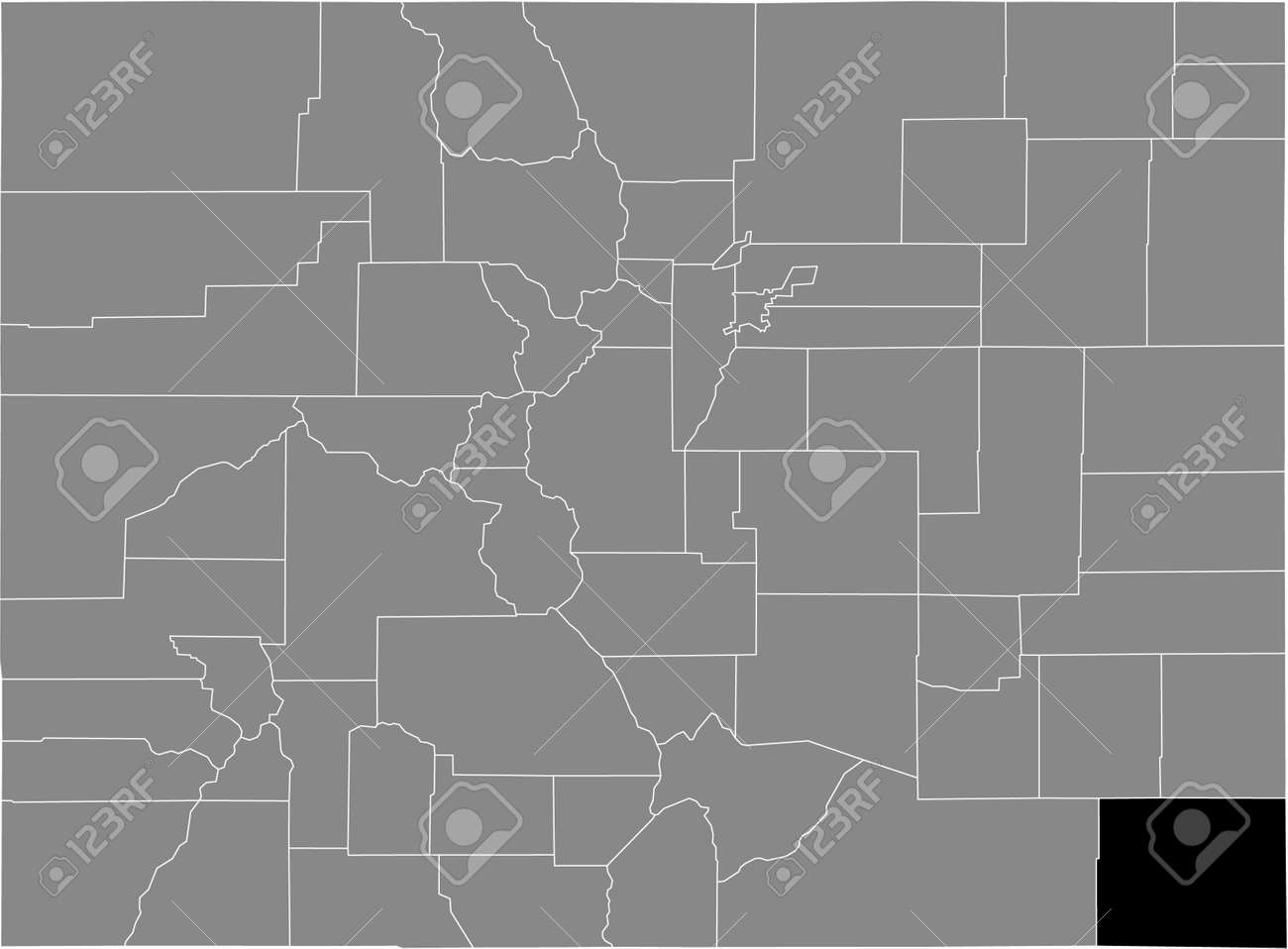 Black highlighted location map of the US Baca county inside gray map of the Federal State of Colorado, USA - 169913164