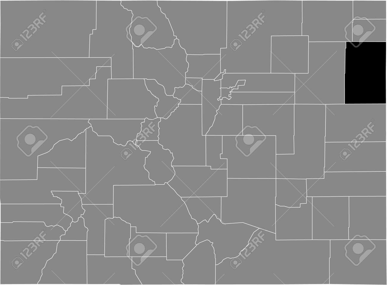 Black highlighted location map of the US Yuma county inside gray map of the Federal State of Colorado, USA - 169913237
