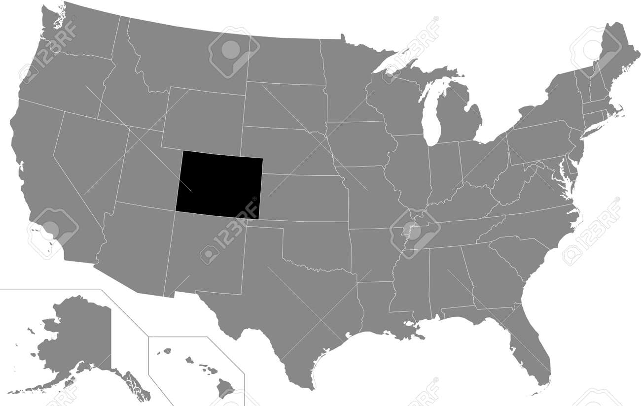 Black highlighted location map of the US Federal State of Colorado inside gray map of the United States of America - 169913244