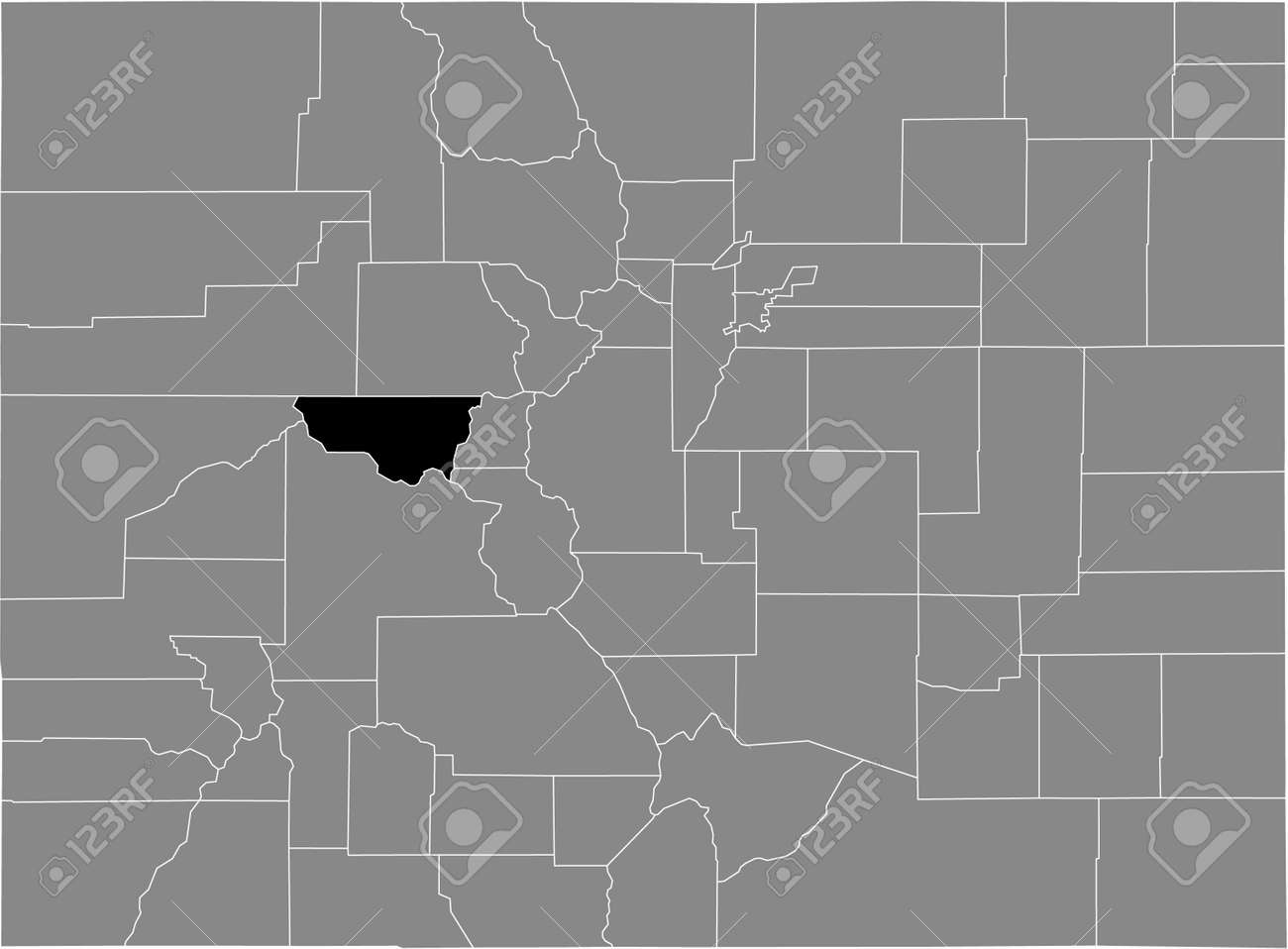 Black highlighted location map of the US Pitkin county inside gray map of the Federal State of Colorado, USA - 169913246