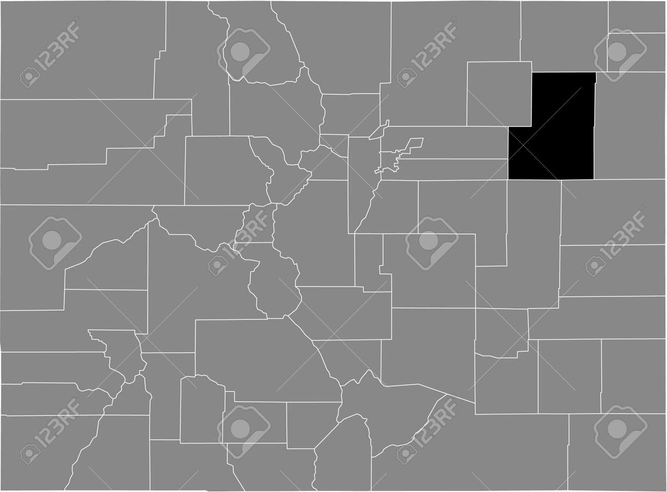 Black highlighted location map of the US Washington county inside gray map of the Federal State of Colorado, USA - 169912547