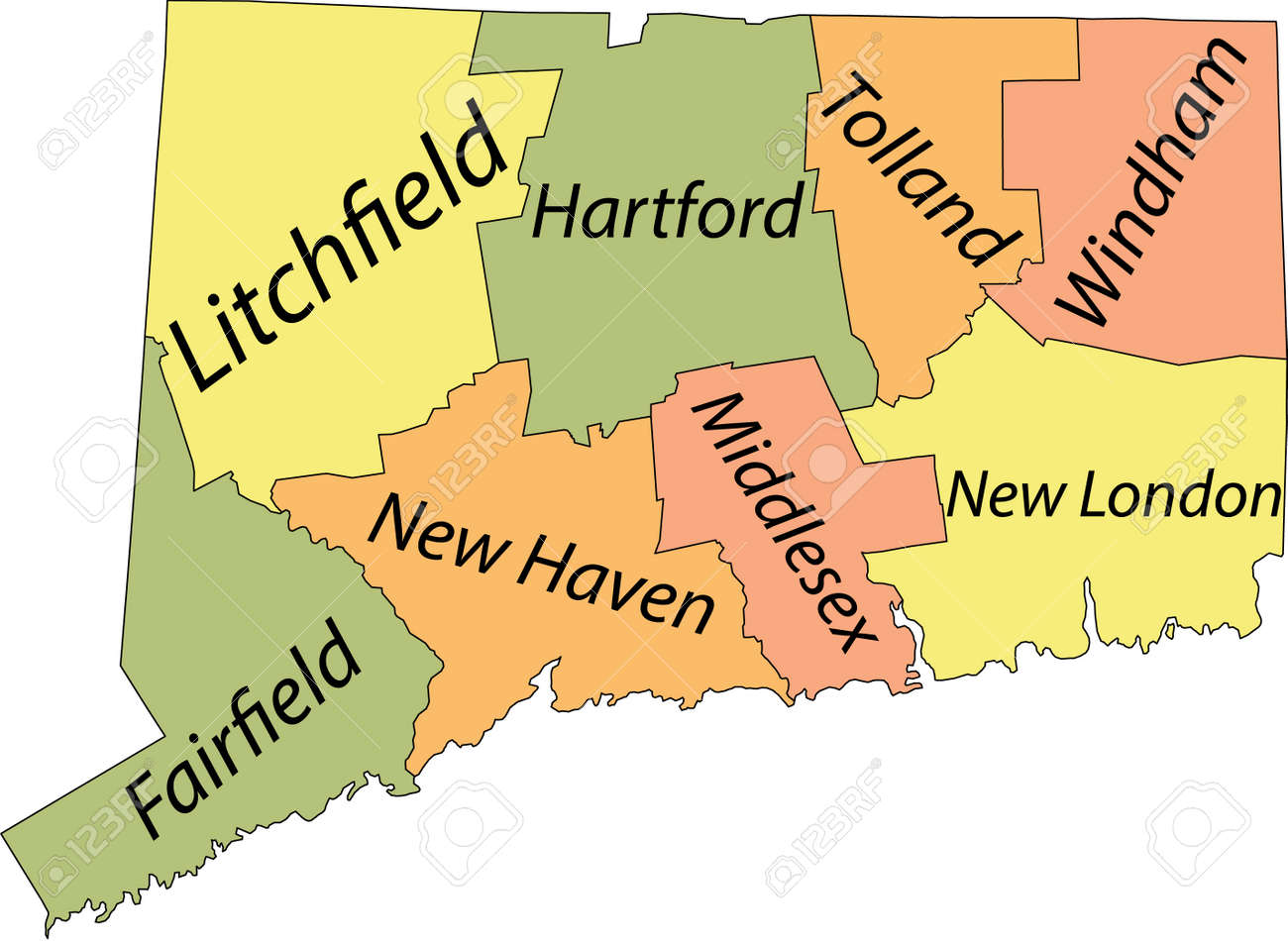 Pastel vector map of the Federal State of Connecticut, USA with black borders and names of its counties - 169984380