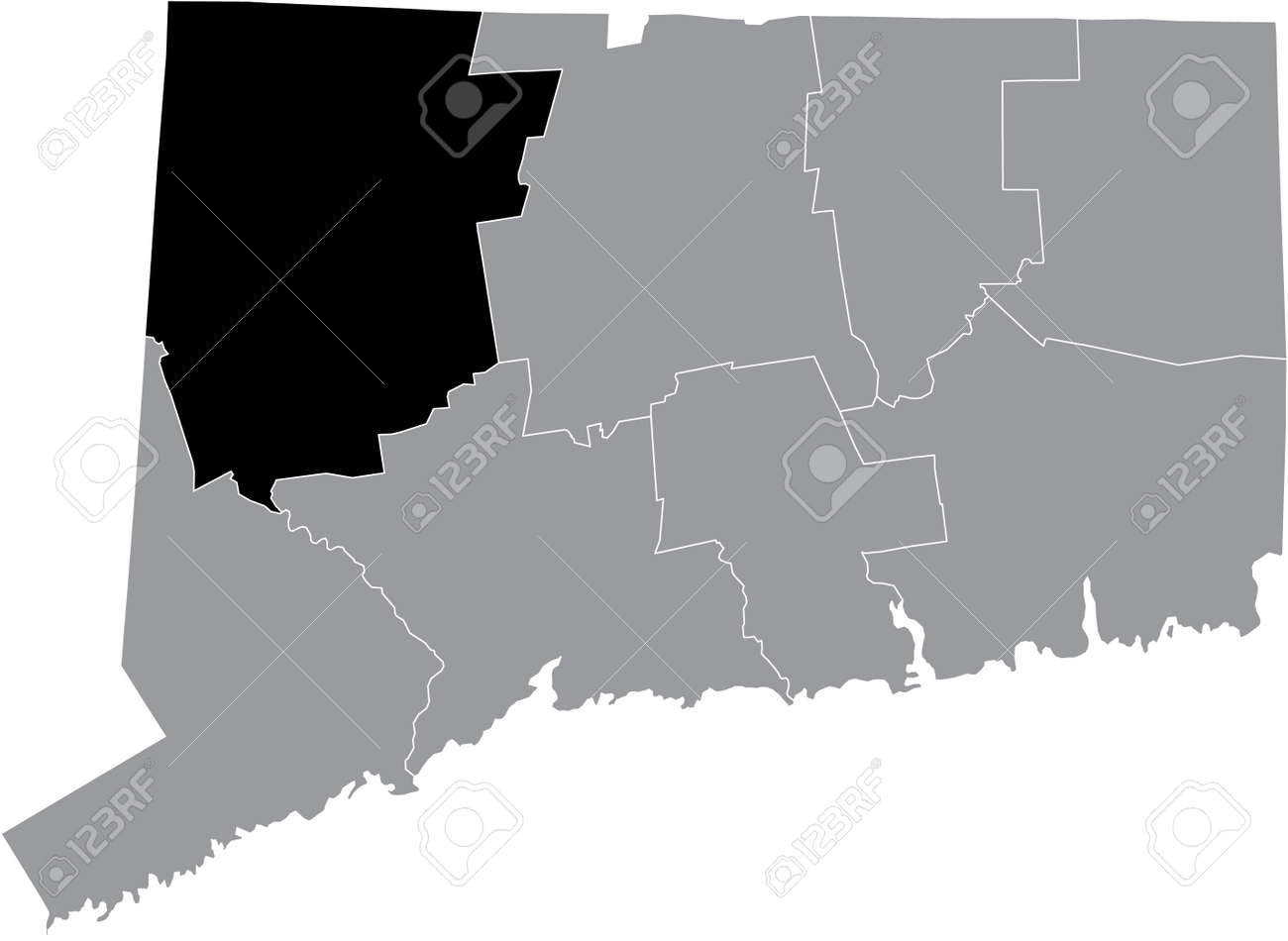 Black highlighted location map of the US Litchfield county inside gray map of the Federal State of Connecticut, USA - 169984402