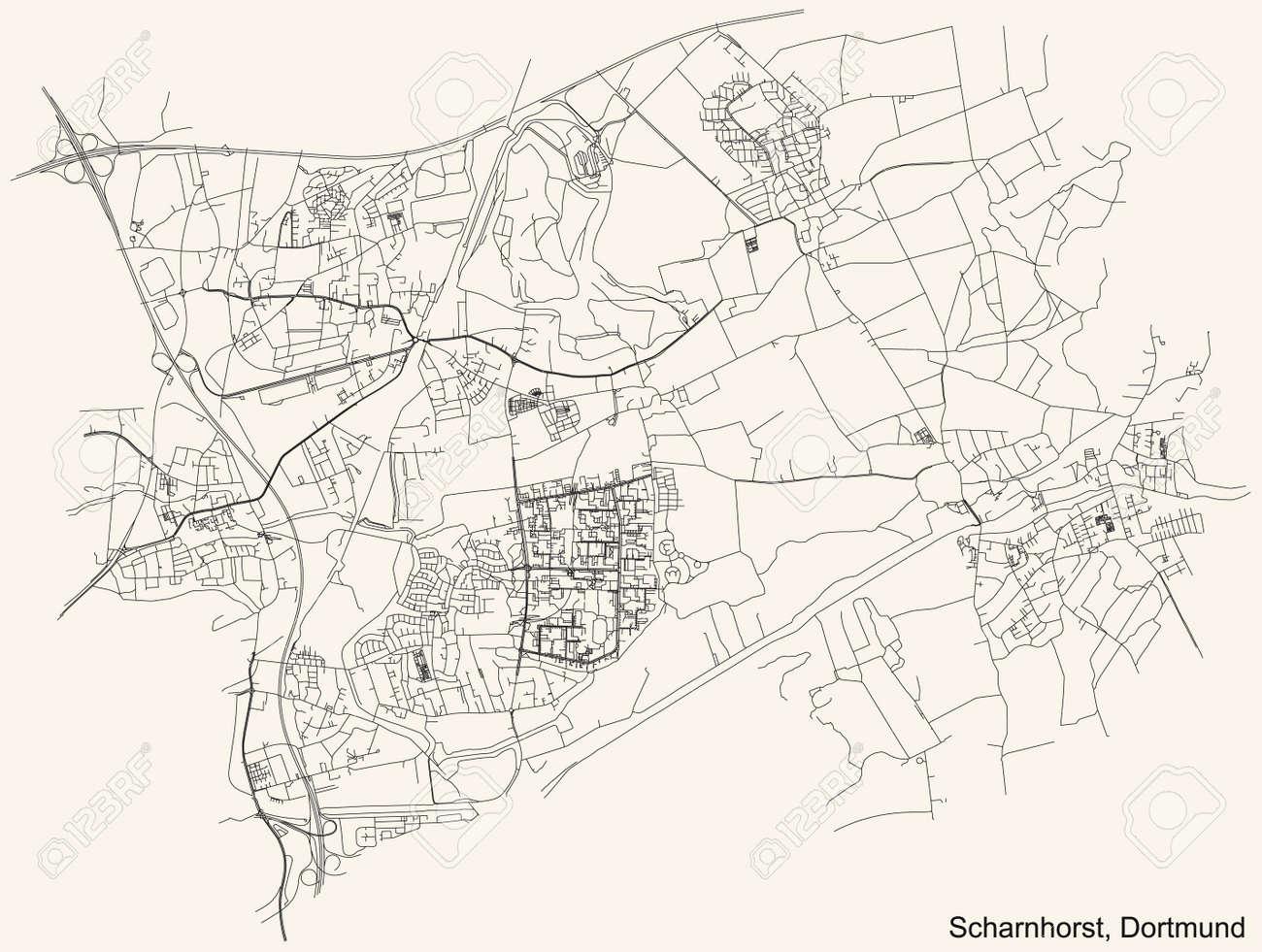 Black simple detailed street roads map on vintage beige background of the quarter Stadtbezirk Scharnhorst district of Dortmund, Germany - 169986149
