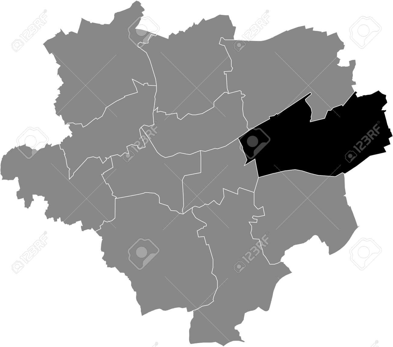 Black location map of the Dortmunder Stadtbezirk Brackel district inside the German regional capital city of Dortmund, Germany - 169986150