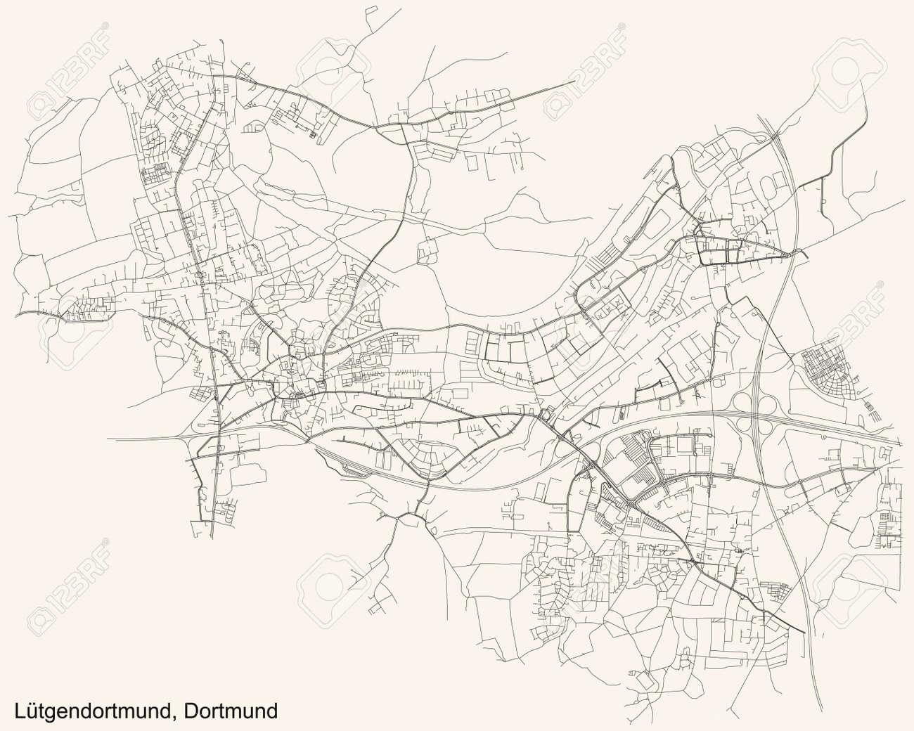 Black simple detailed street roads map on vintage beige background of the quarter Stadtbezirk Lütgendortmund district of Dortmund, Germany - 169986364