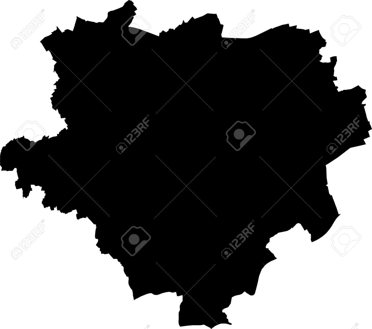 Simple vector black administrative map of the German regional capital city of Dortmund, Germany - 169986368