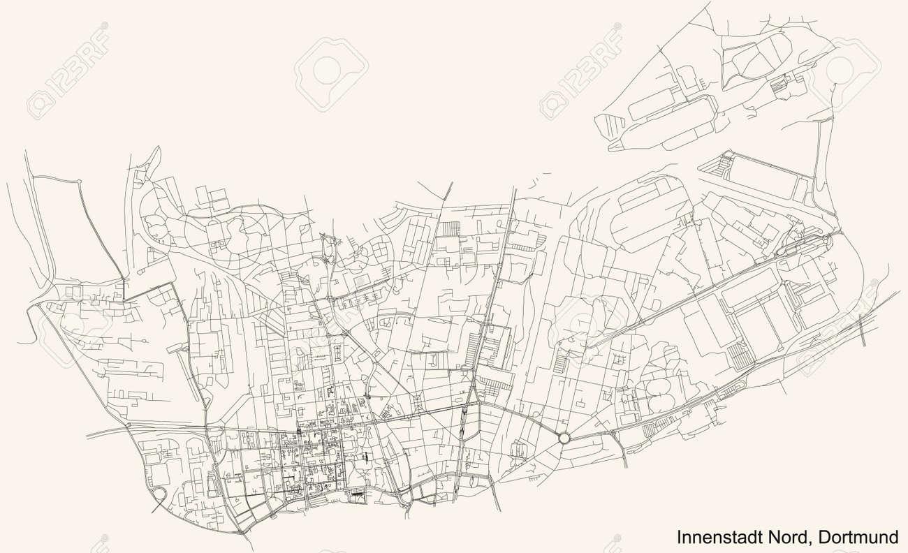 Black simple detailed street roads map on vintage beige background of the quarter Stadtbezirk Innenstadt-Nord district of Dortmund, Germany - 169986369